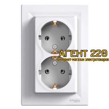 880a19c17ec3b Купить Розетка двойная с заземлением белая Asfora Asfora (Schneider ...