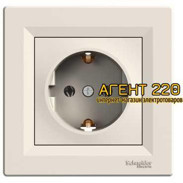 db813bd637aa2 Купить Розетка с заземлением крем Asfora Asfora (Schneider electric ...